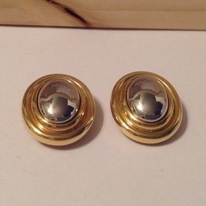 Liz Claiborne Gold Silver Button Style Earrings